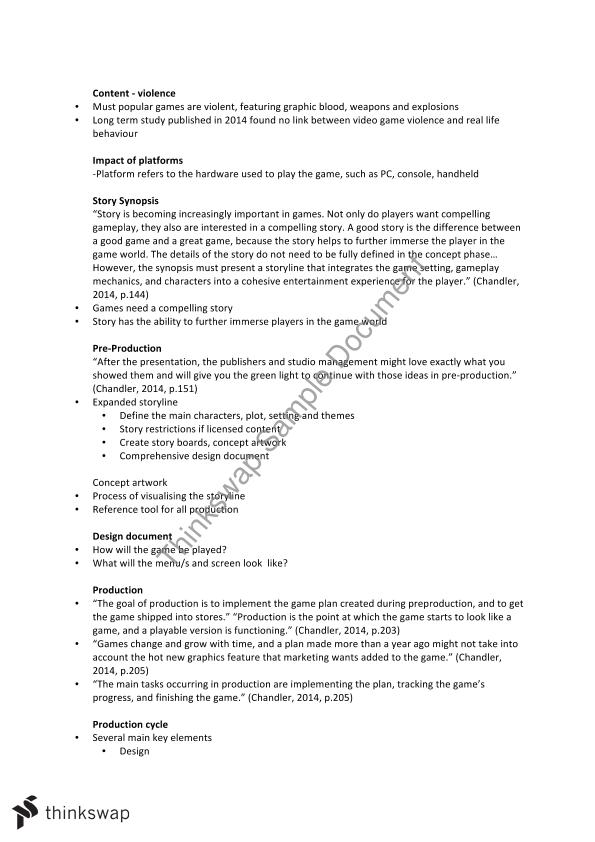 Lecture Notes KXB Introduction To Entertainment Thinkswap - Video game design document example
