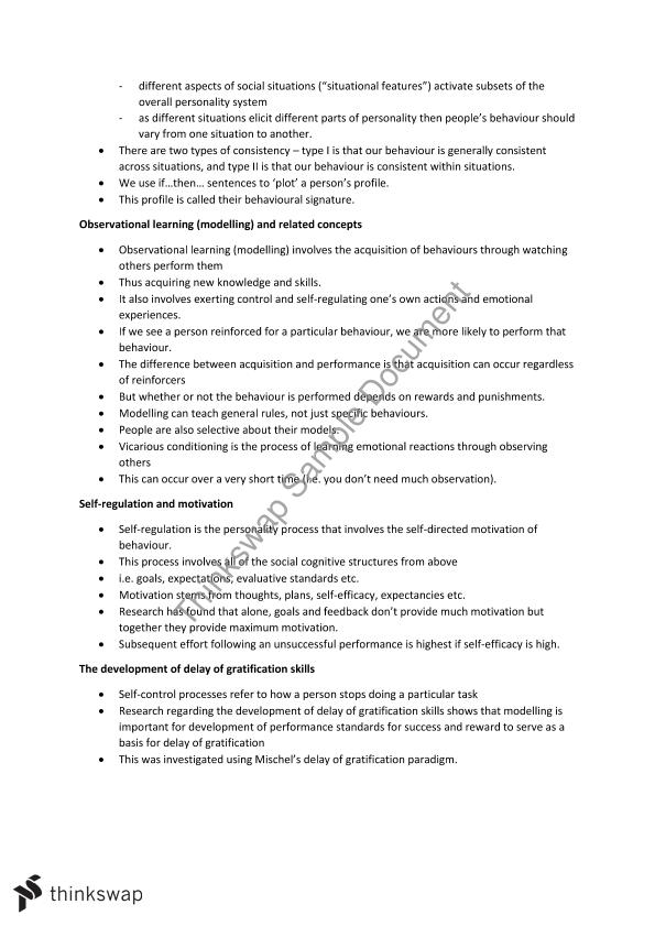 HPS307 Personality Exam Notes