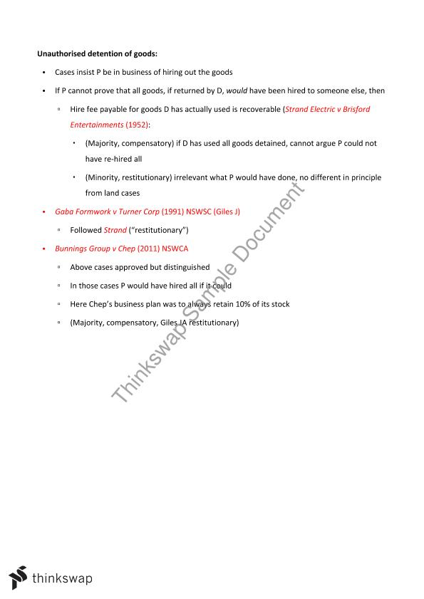 Tort & Contract Notes - Remedies