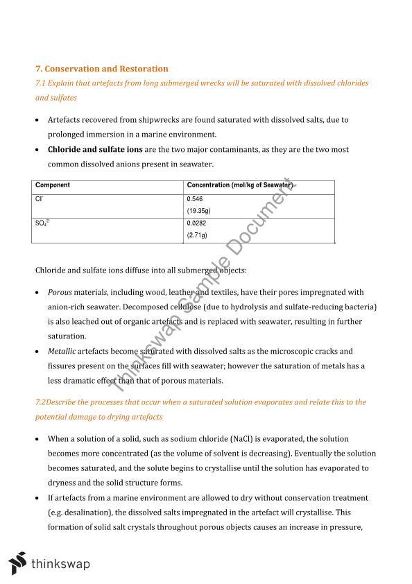 Year 12 Chemistry Study Notes Option Module: Shipwrecks   Year 12