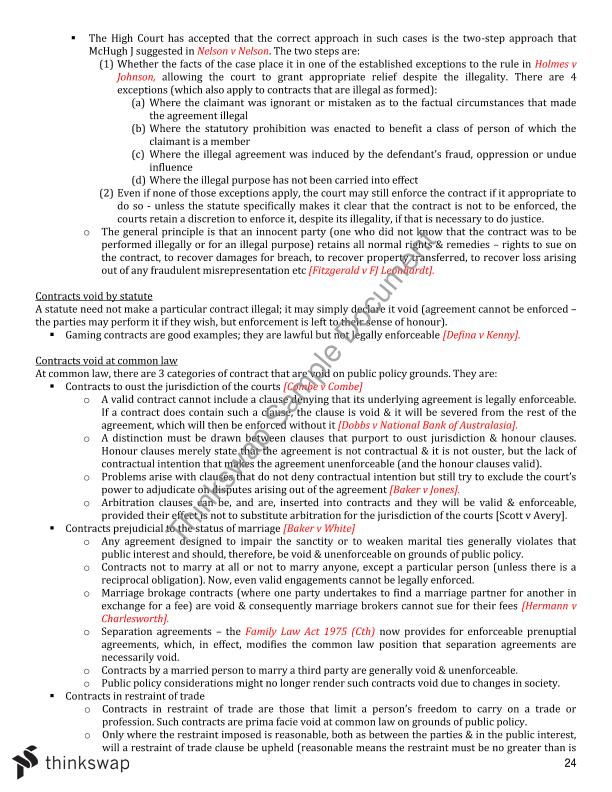 Contract Law Exam Notes   LW211 - Principles of Contract Law A ...