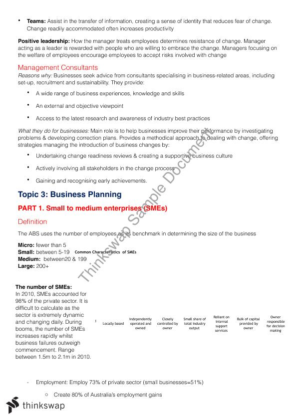 Business Studies Summary Preliminary