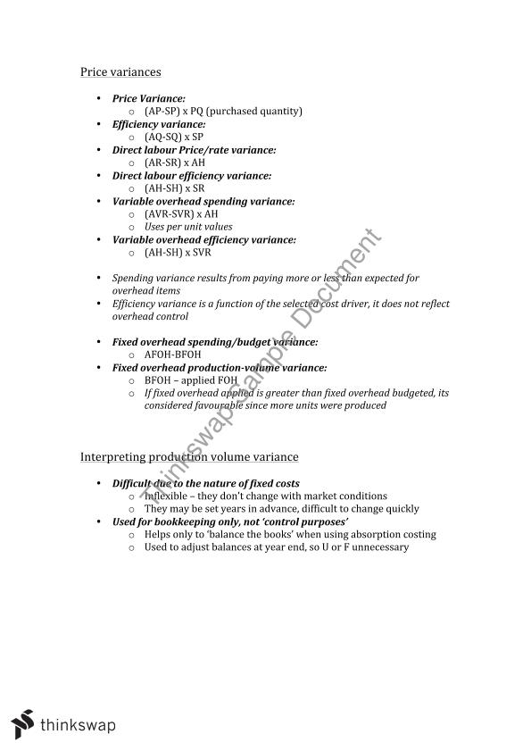 Management Accounting B Complete Notes
