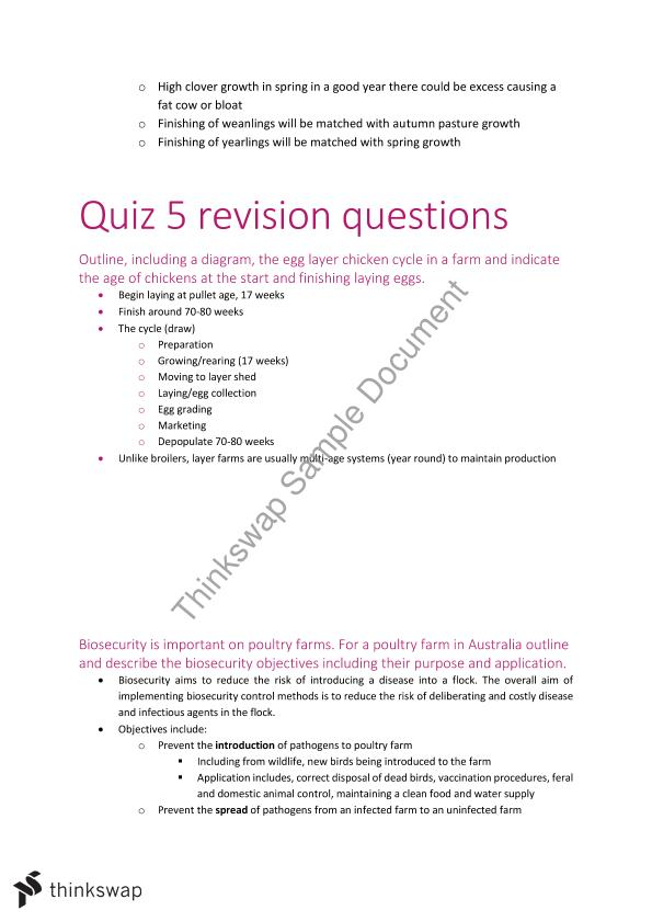 Quiz Questions And Answers For Vsc110 Vsc110 Animal Production