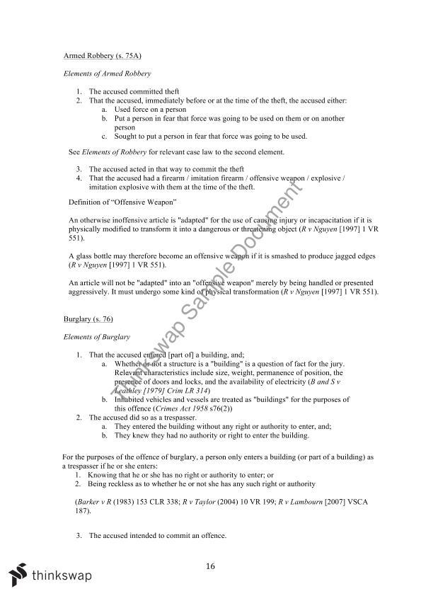 Criminal Law Final Exam Notes   LLW1001 - Criminal Law