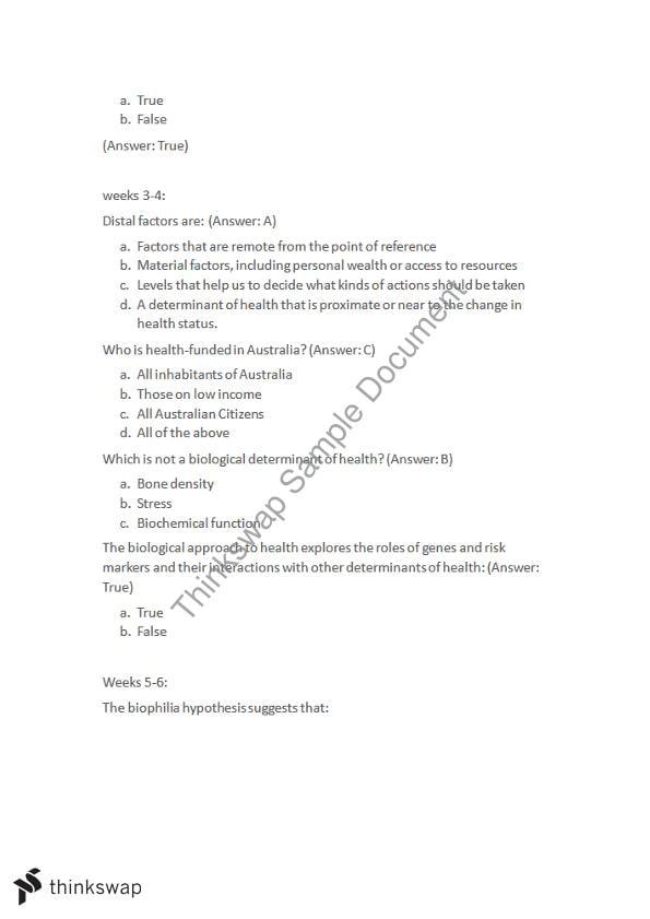 Weekly Summary and MCQS | HBS107 - Understanding Health | Thinkswap