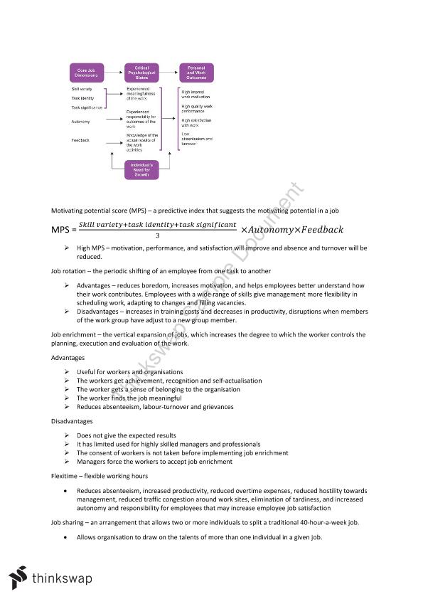 Organisational Behaviour Notes for Final Exam   MGTS1601