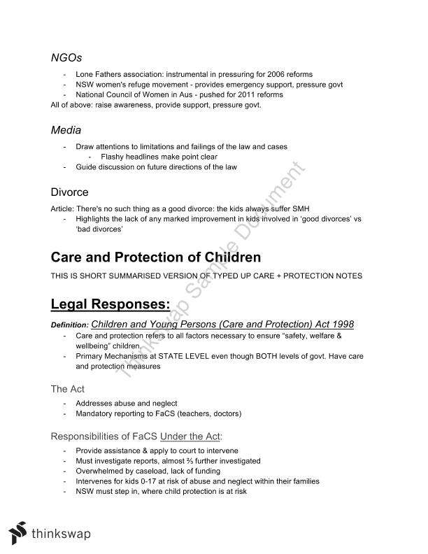HSC Legal Studies Family Law Short Dot Point Study Notes