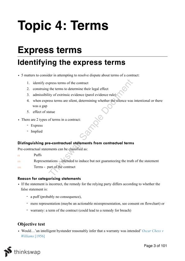 Extensive Contracts Law Notes