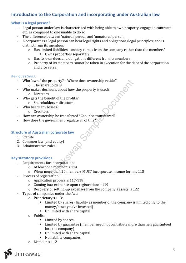 LAWS1091 Business Associations Semester Notes