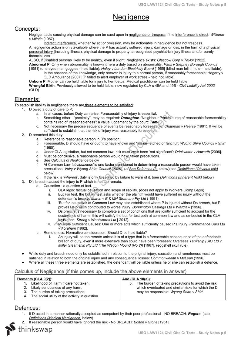 Civil Obligations C Torts Exam Preparatory Notes | LAW1124