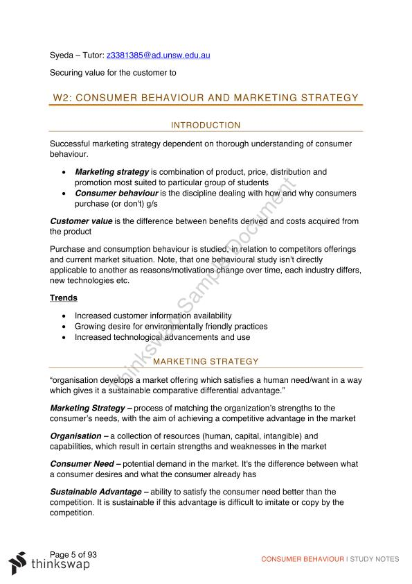 Full Course Notes for Consumer Behaviour  - Page 5
