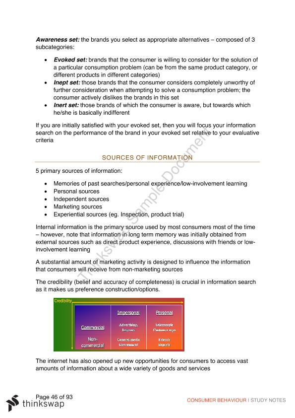 Full Course Notes for Consumer Behaviour  - Page 46