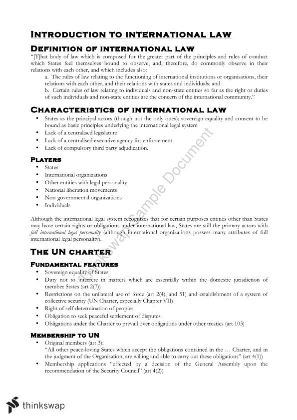 Complete Course Notes For Law In The Global Context