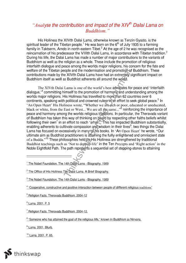Dalai lama essays singer thesis