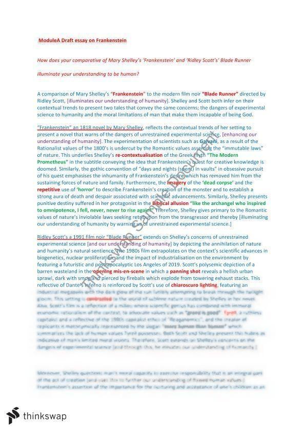 Blade runner and frankenstein essay joe hinsberg bryan williams resume
