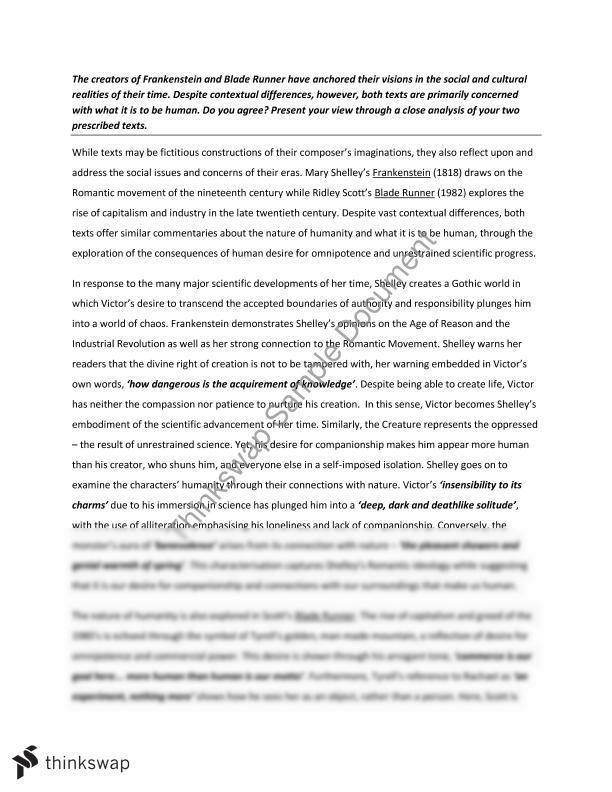 Frankenstein blade runner essay free parts of a resume in order