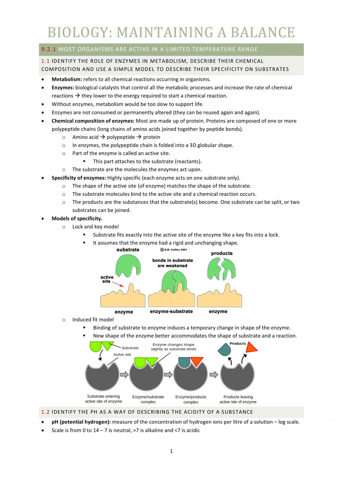 Biology Maintaining A Balance Each Dot Point Notes - Page 1