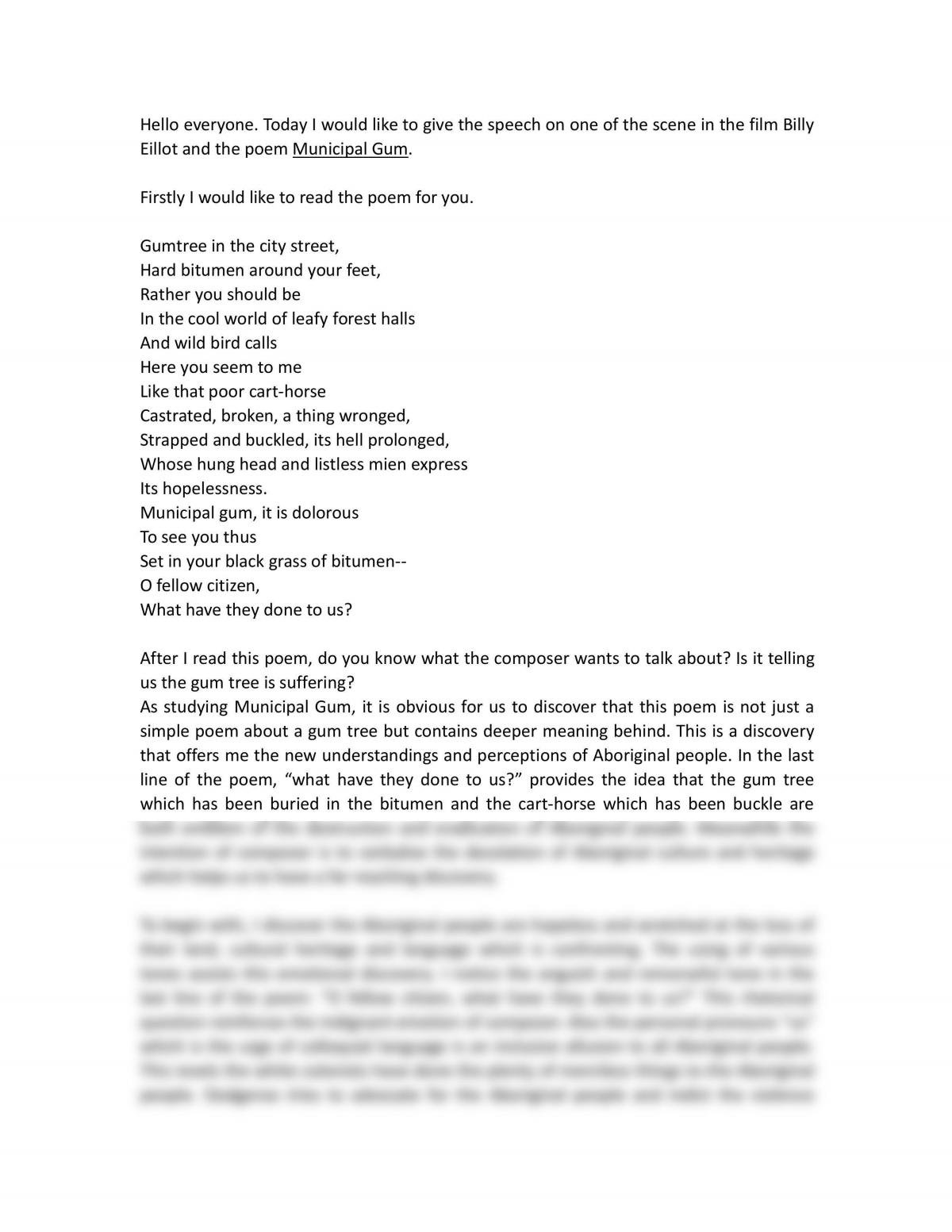 ESL Speech About the Discovery on Billy Eillot and Poem of Oodgeroo  - Page 1