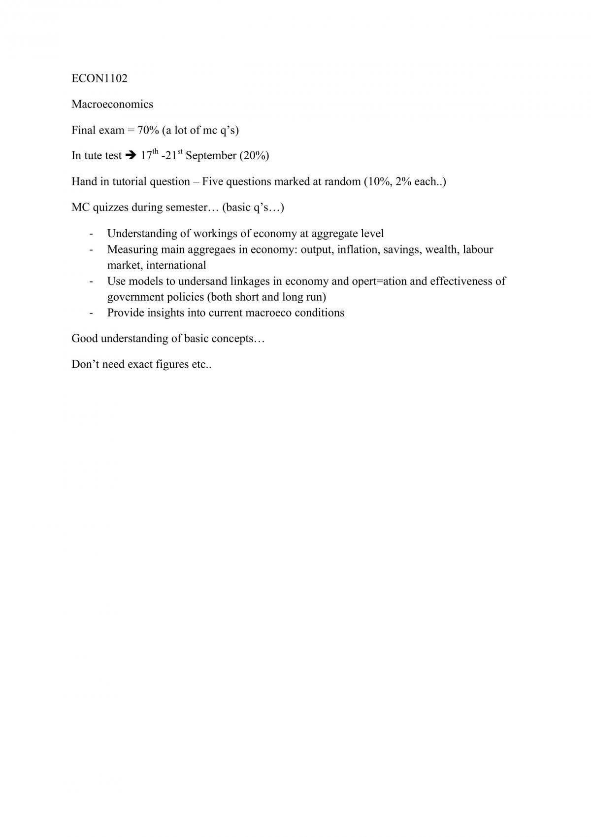 Macroeconomics Full Study Notes - Page 1