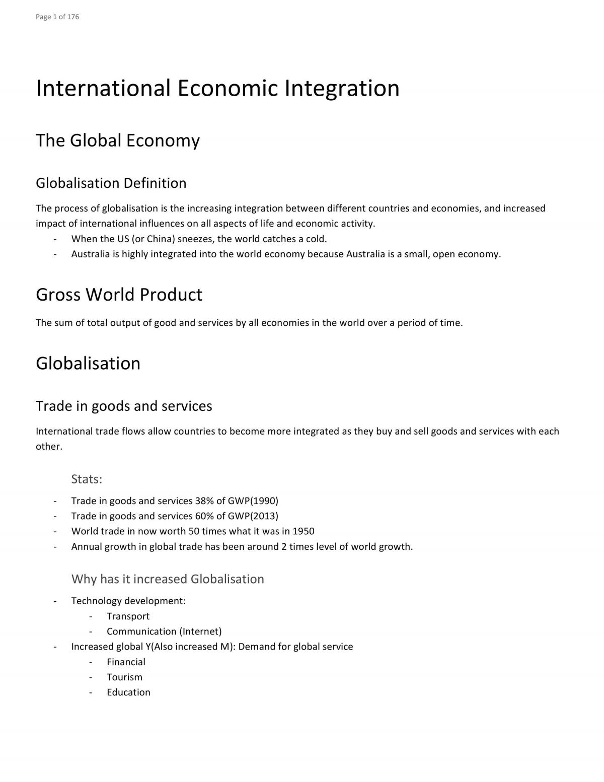 Band 6 Full Economics Course Notes 2017 - 176 Pages - Page 1
