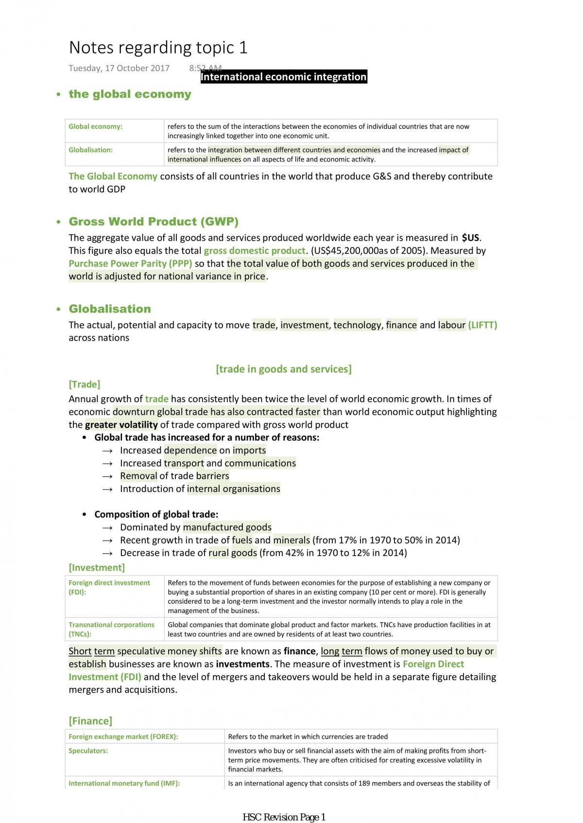 Topic 1: The Global Economy Notes - Page 1