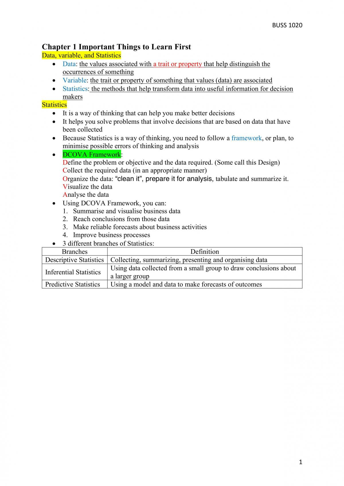 Complete Revision Notes - BUSS1020 - Page 1