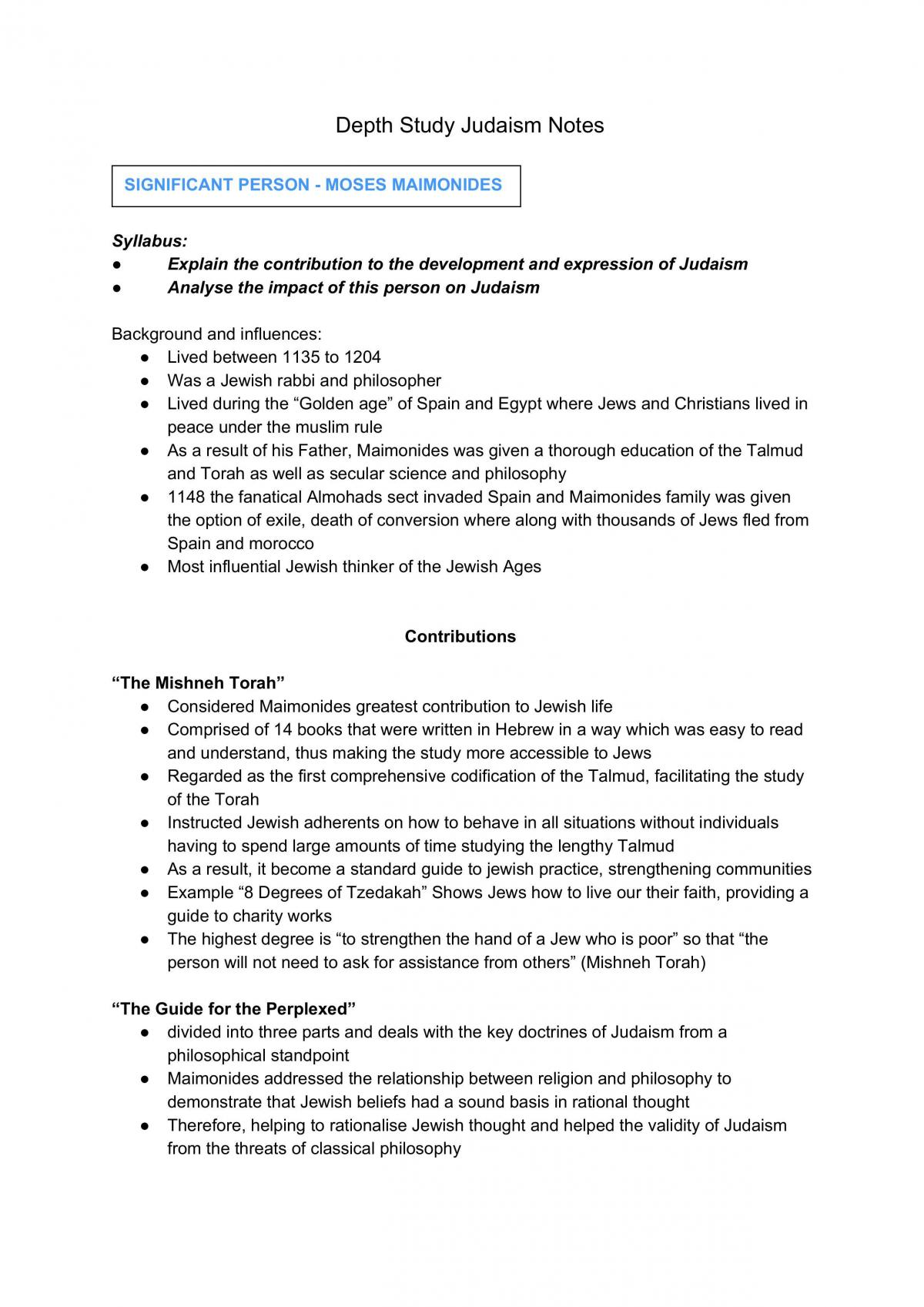 Judaism Depth Study (Marriage, Moses Maimondies and Bioethics) - Page 1