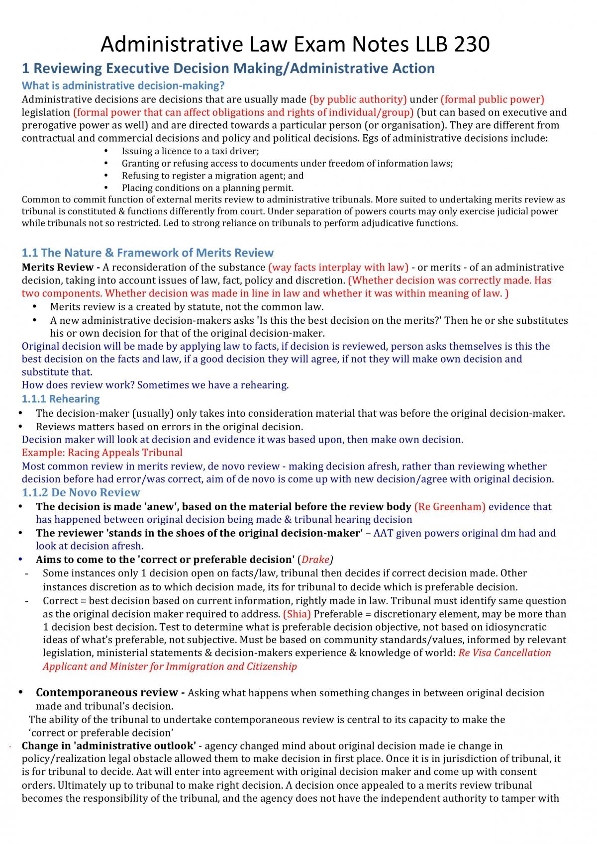Administrative Law Exam Notes - Page 1