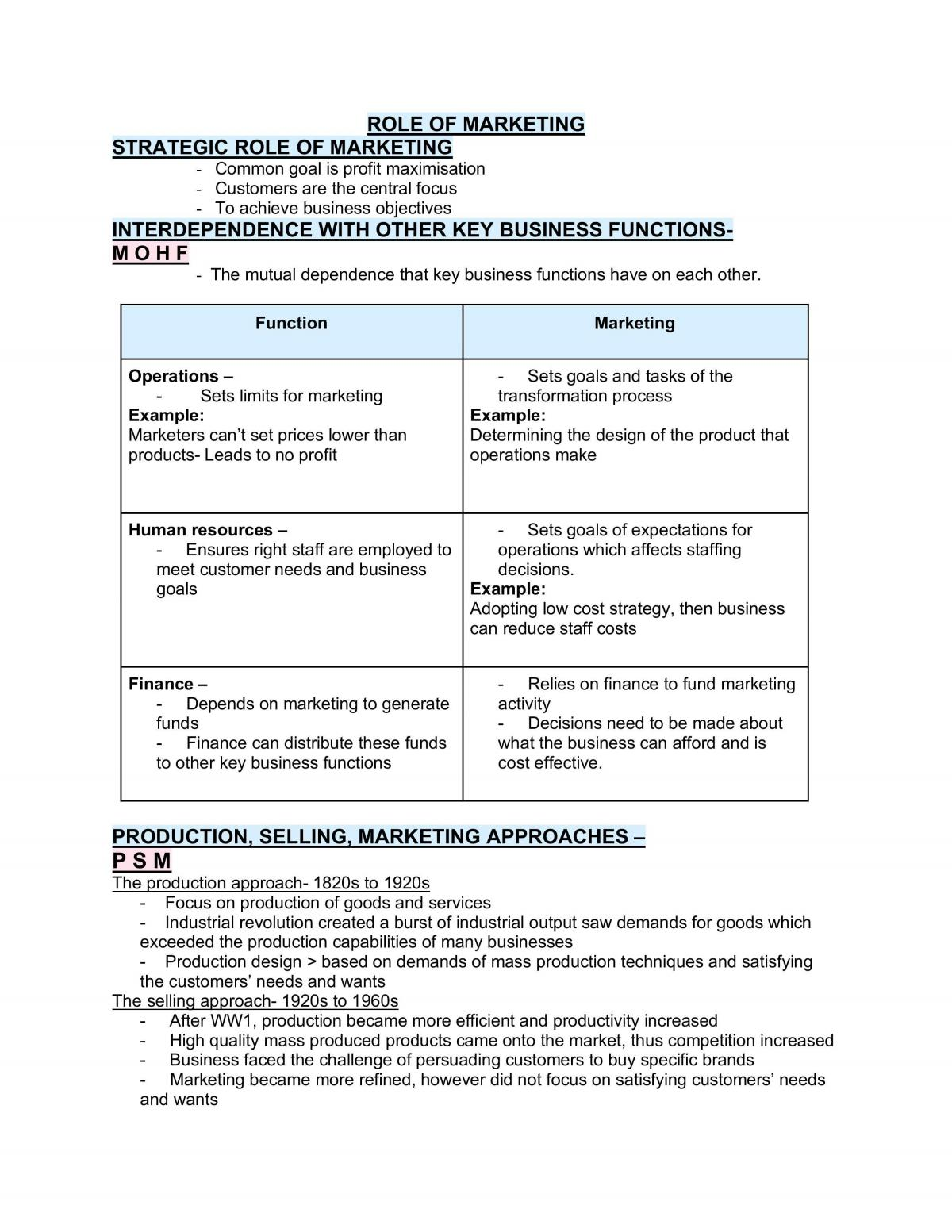 Complete Business Notes on Marketing  - Page 1