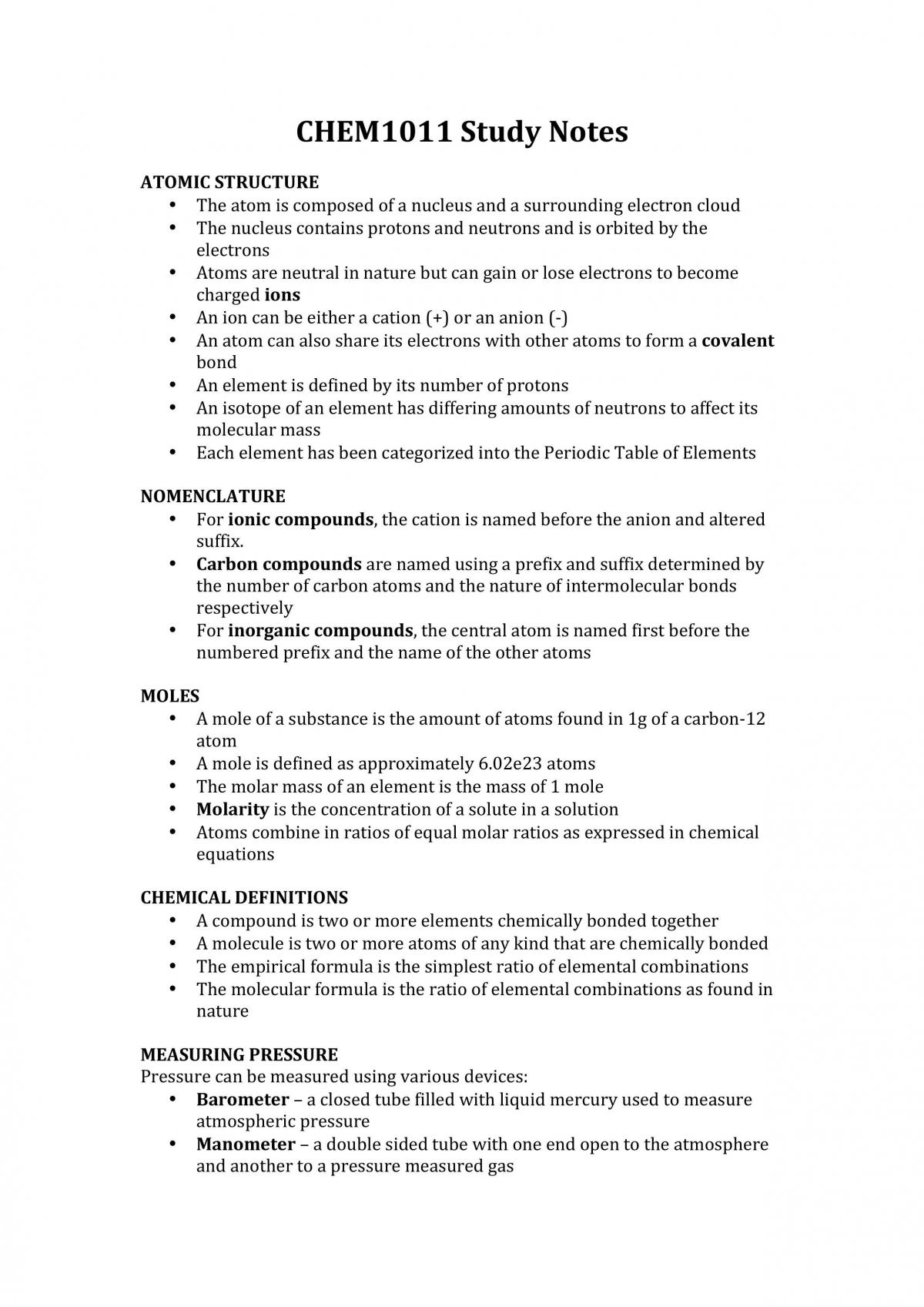 CHEM1011 Study Notes - Page 1