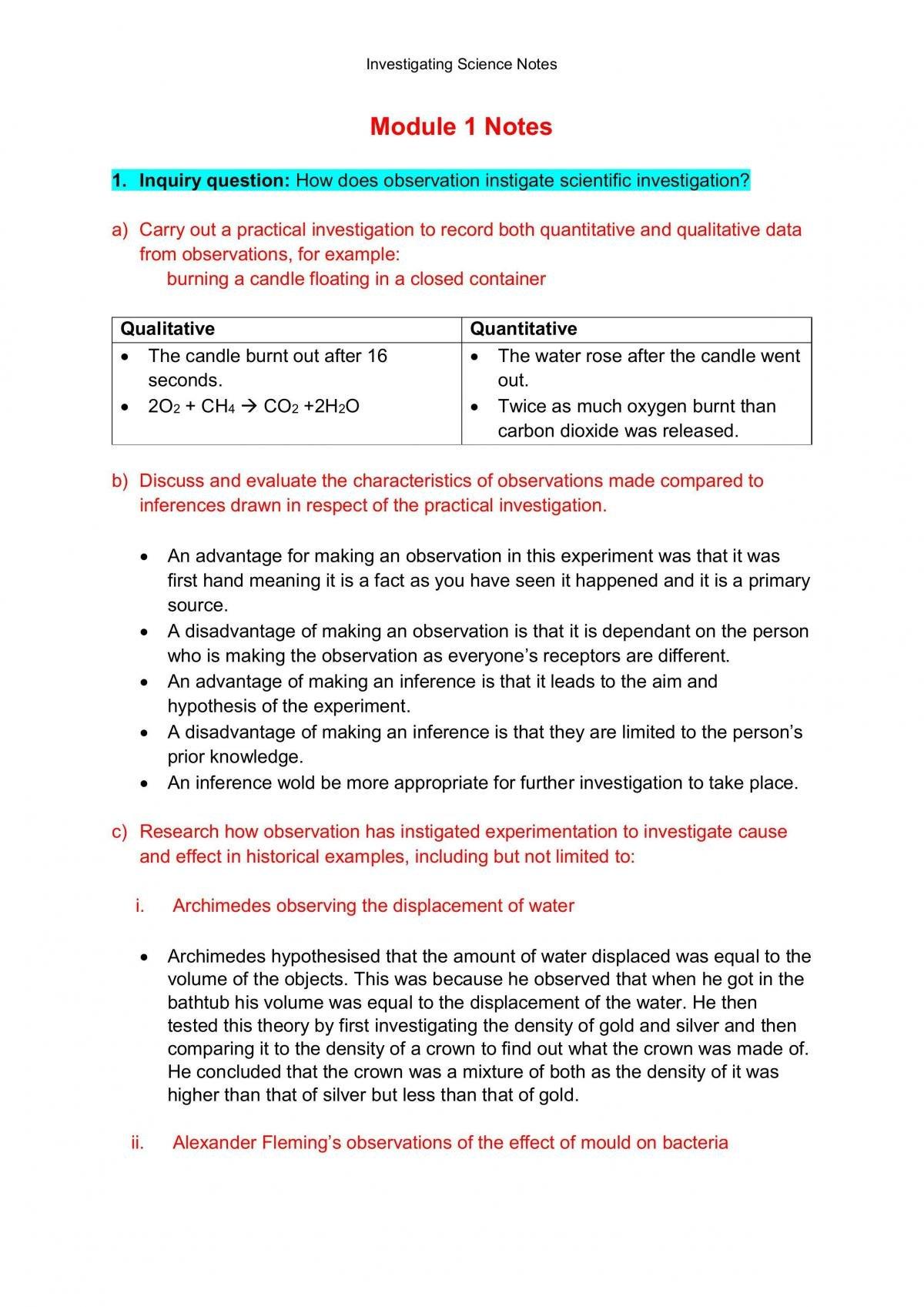 Investigating Science Prelim Notes - Page 1