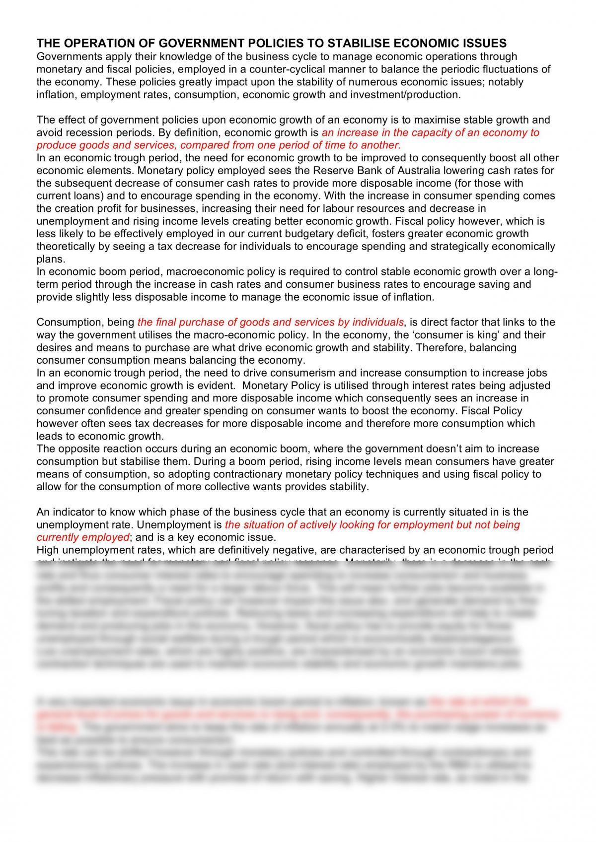 Band 6 Economics Essay - Page 1