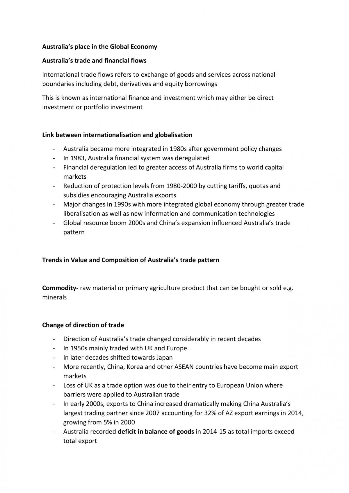 Australia's place in the global economy full notes - Page 1