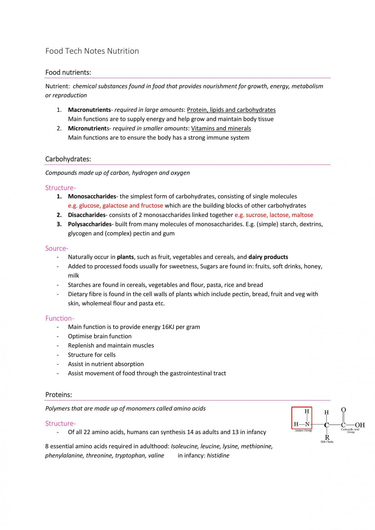 Nutrition study notes - Page 1