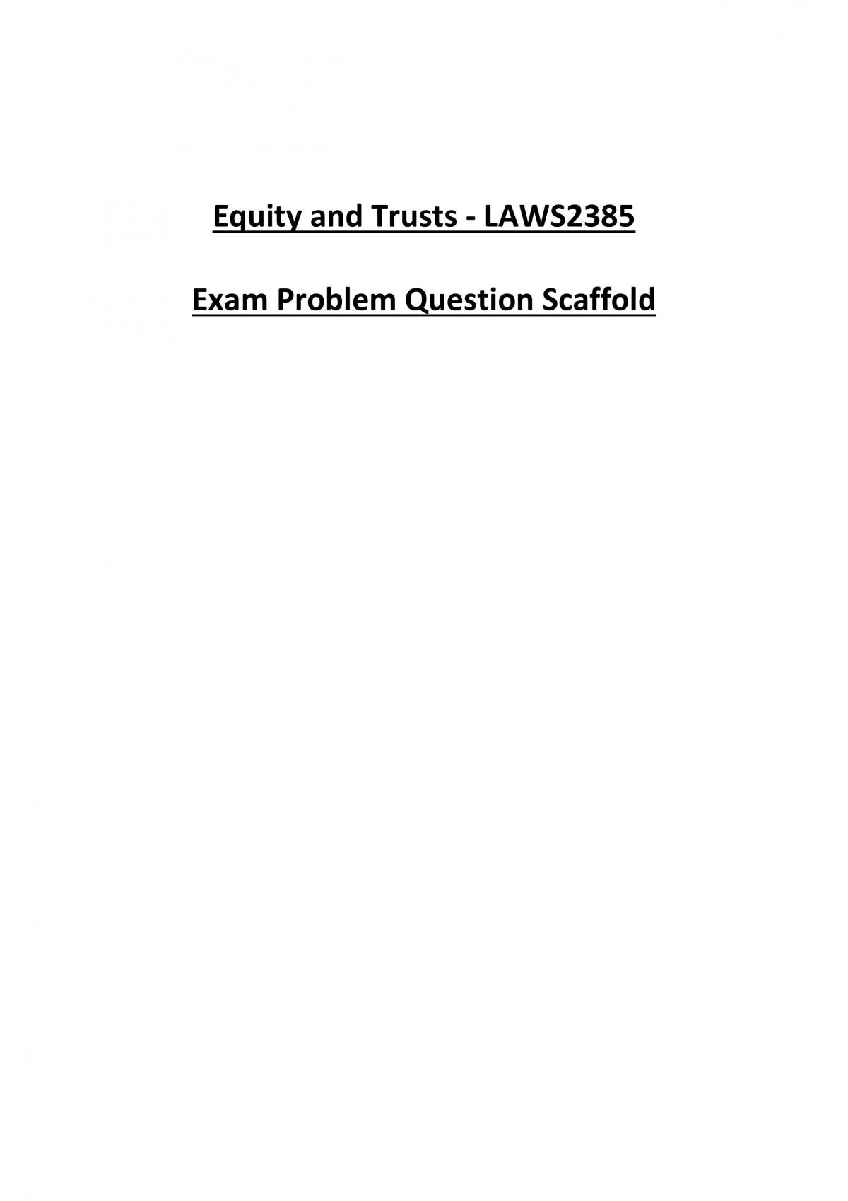 Equity and Trusts HD Exam Notes - Page 1