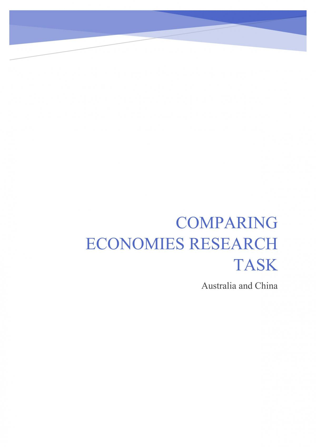 Comparing Economies Research Task- Australia and China - Page 1