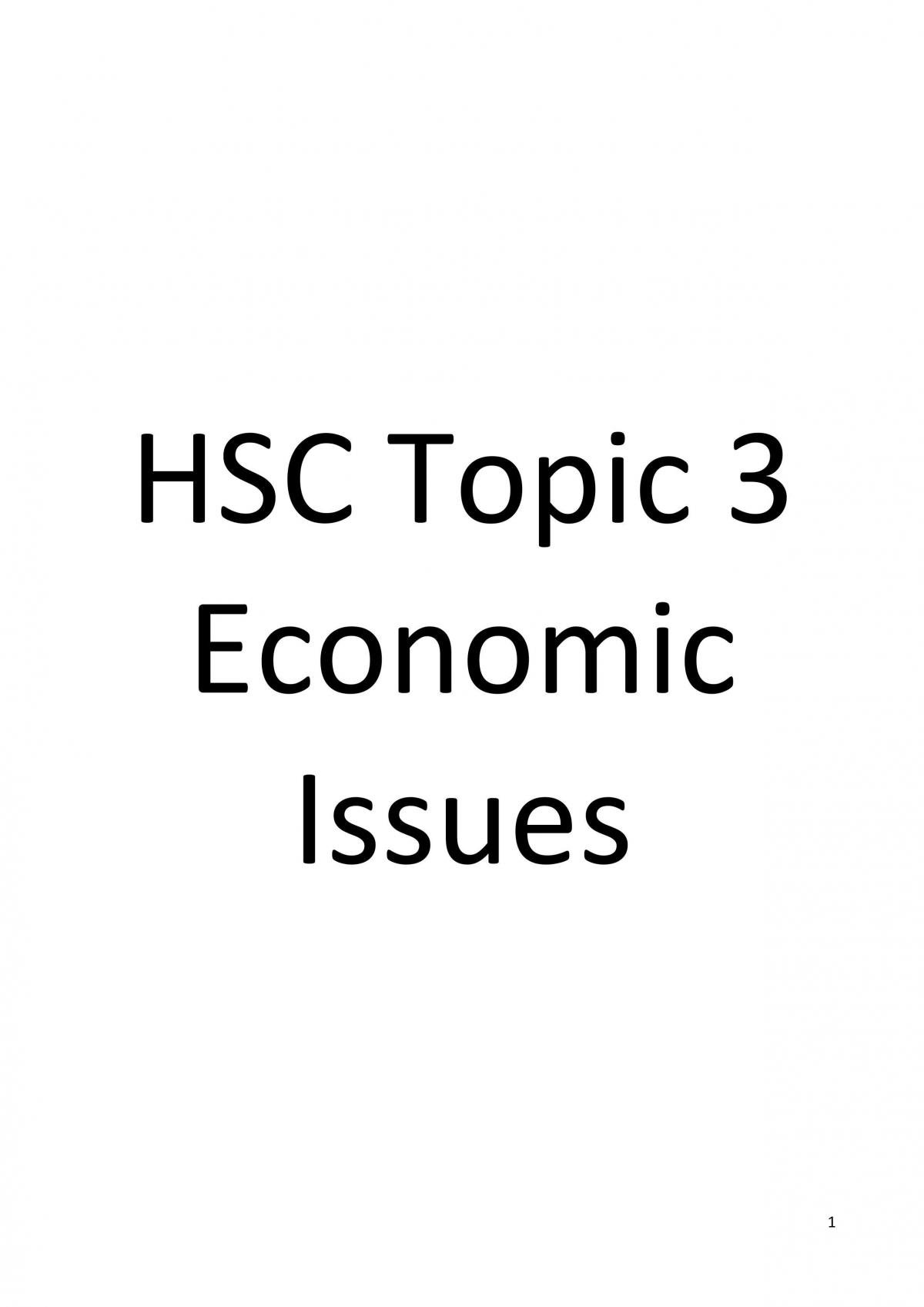 HSC Topic 3 Economic Issues - Page 1