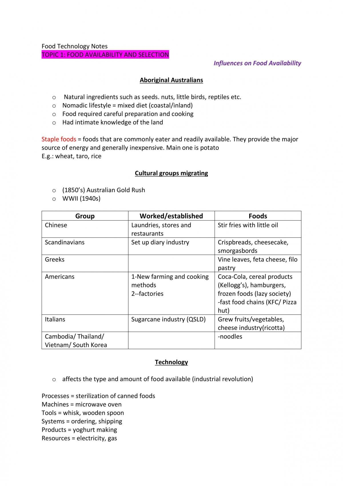 Year 11 Food Technology Notes - Page 1