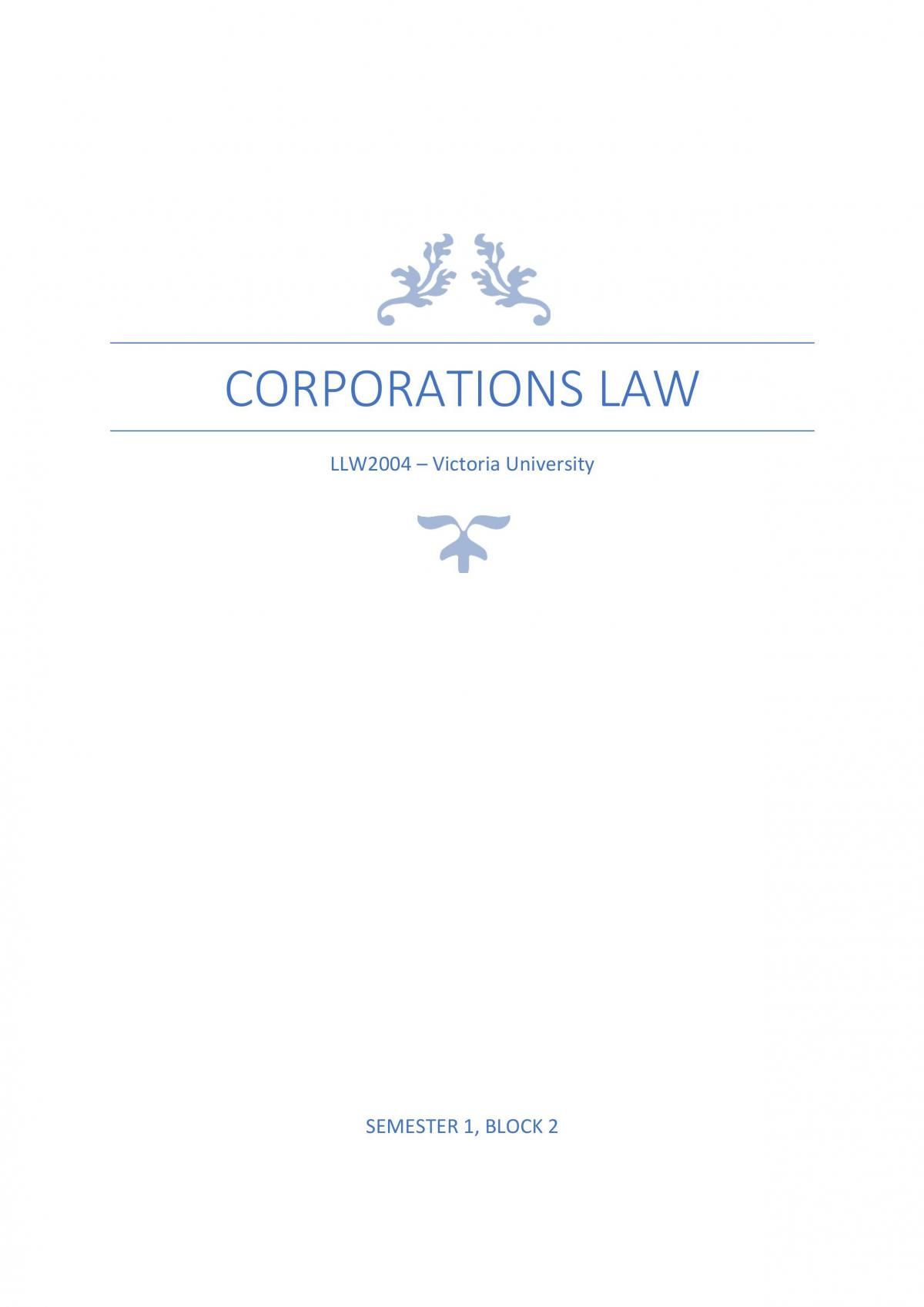 HD Corporations Law Complete Notes - Page 1