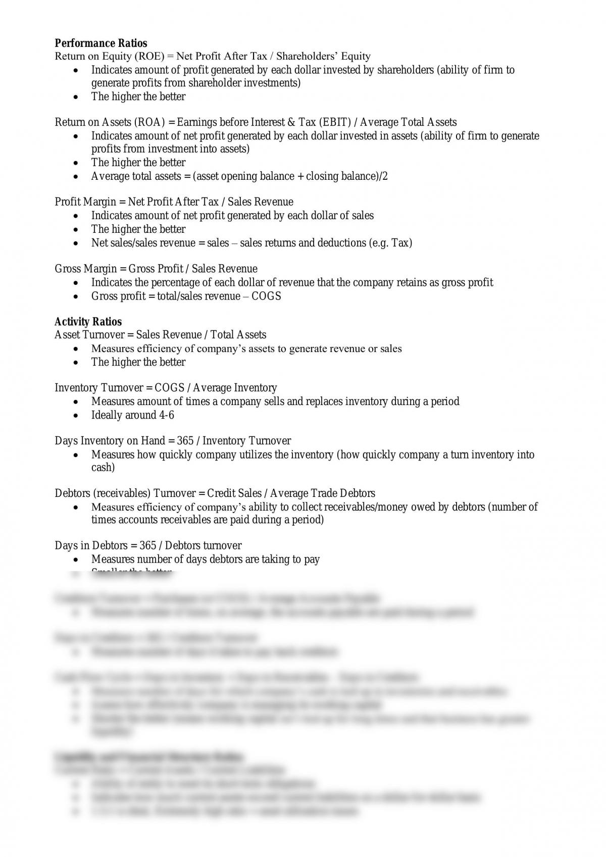 Accounting Ratios with explanations - Page 1