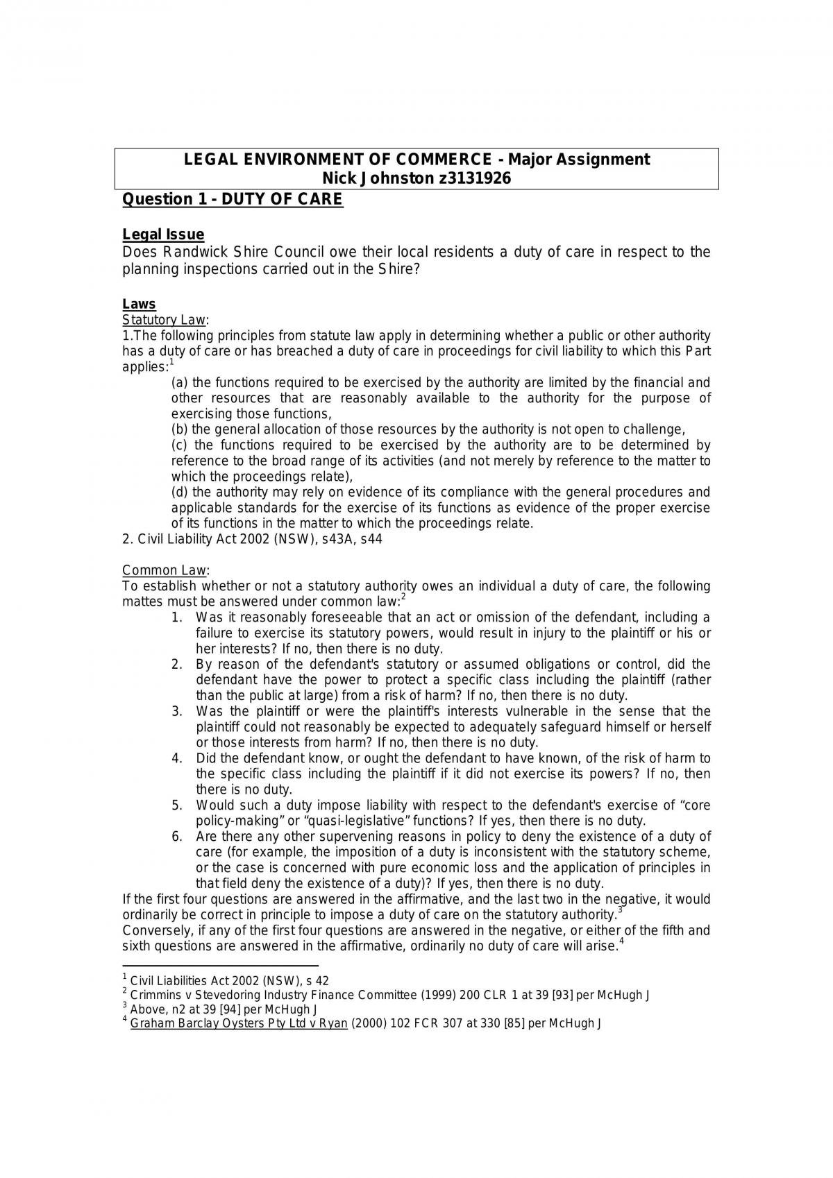 Duty Of Care For Statutory Authorities - Page 1