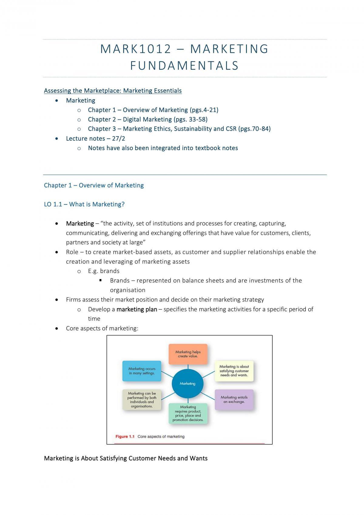 Comprehensive Set of MARK1012 Notes - Page 1