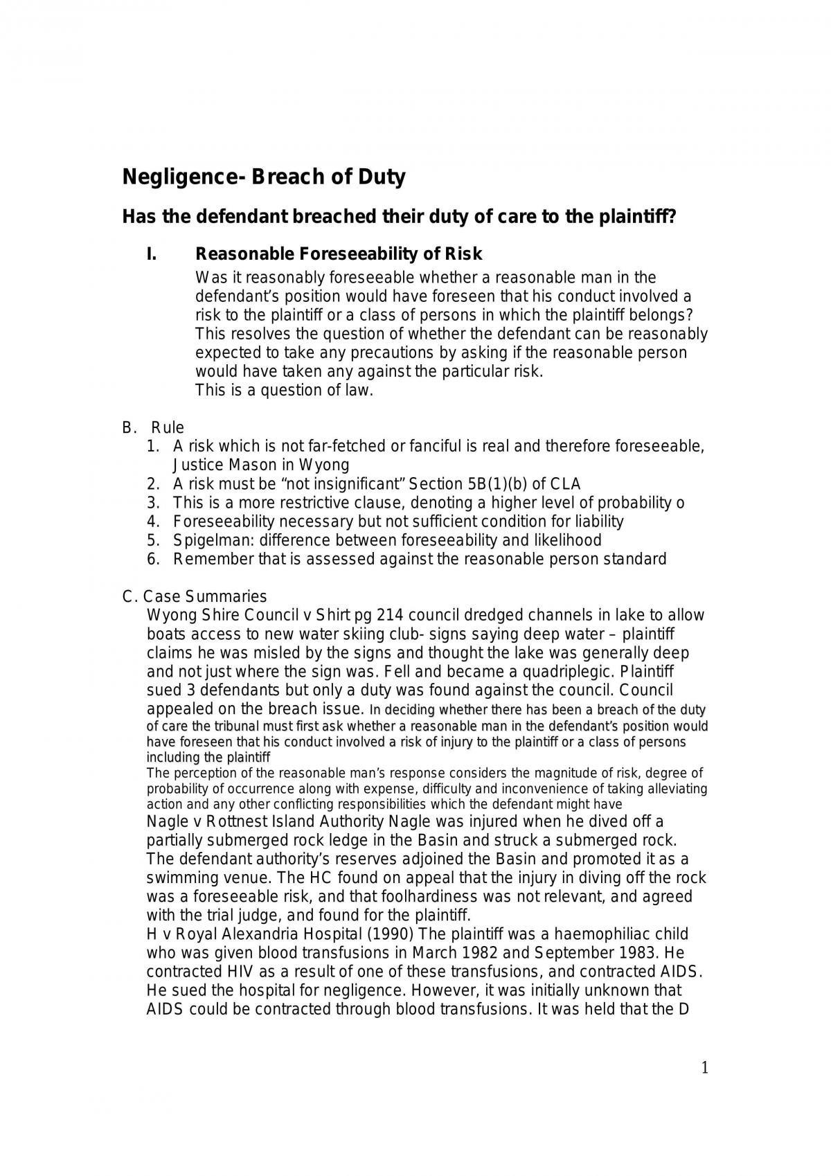 Torts Summary - Page 1