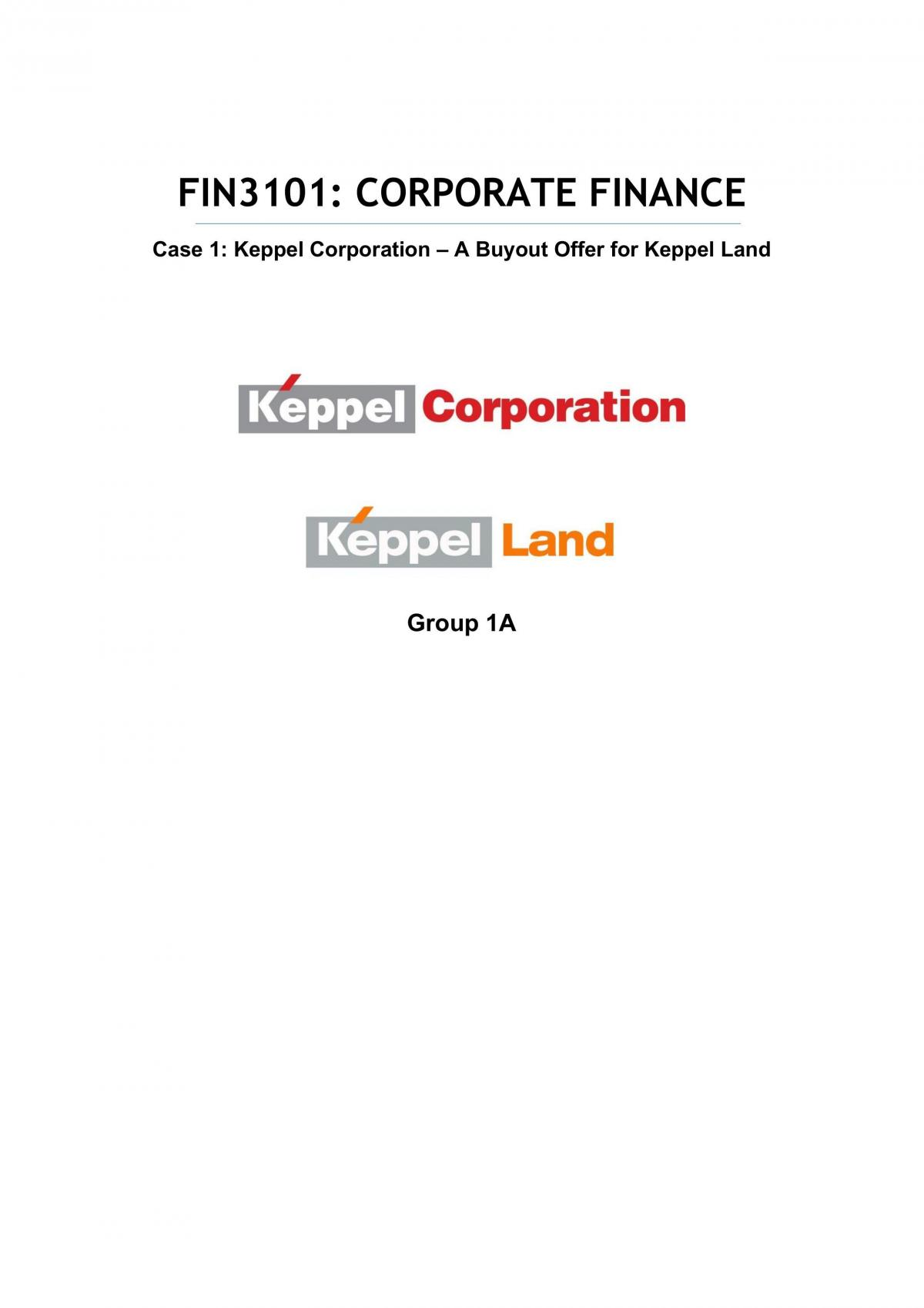 FIN3101 Corporate Finance Case Project Report: Keppel  - Page 1