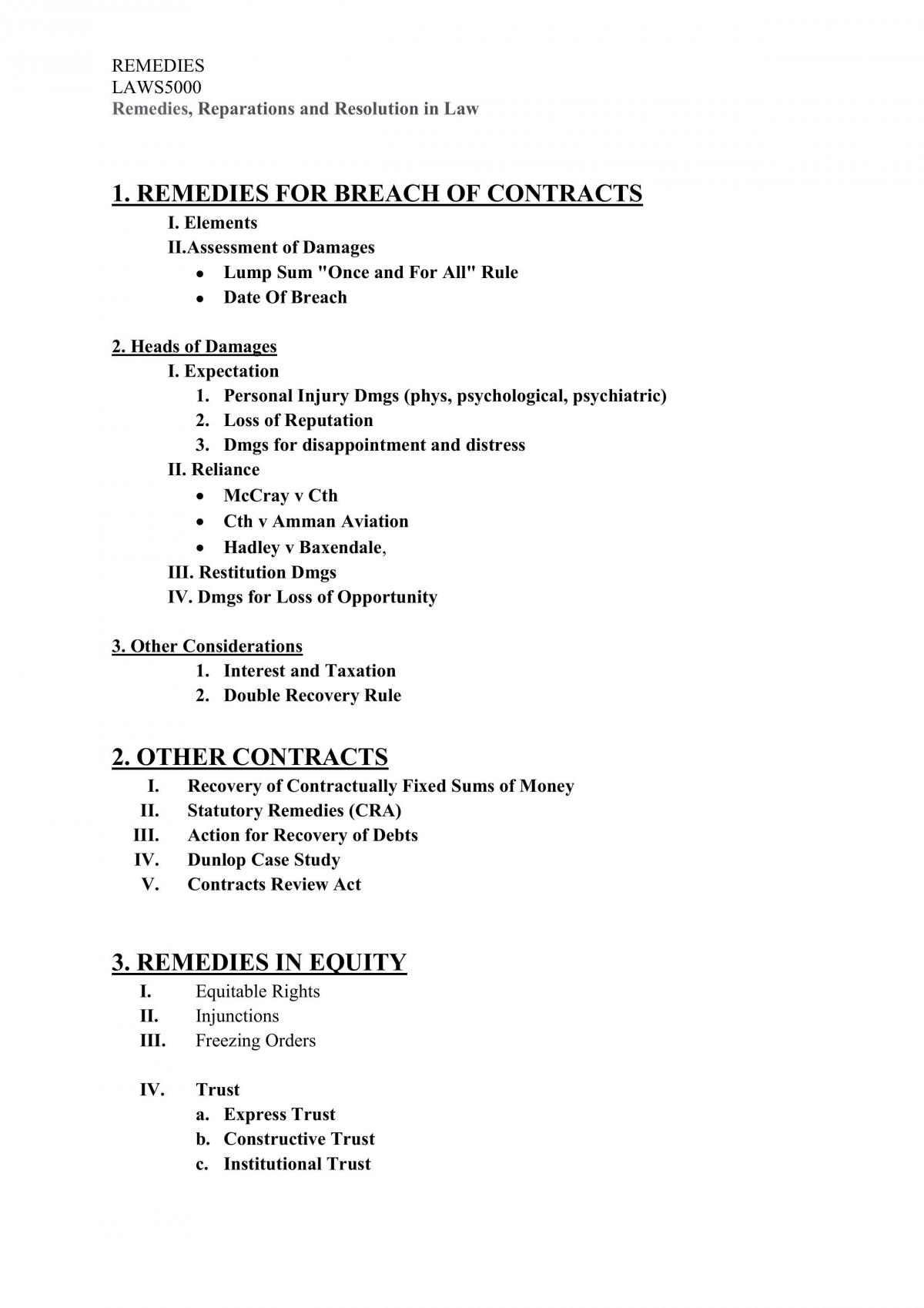 Remedies in Law Revisiable Notes  - Page 1