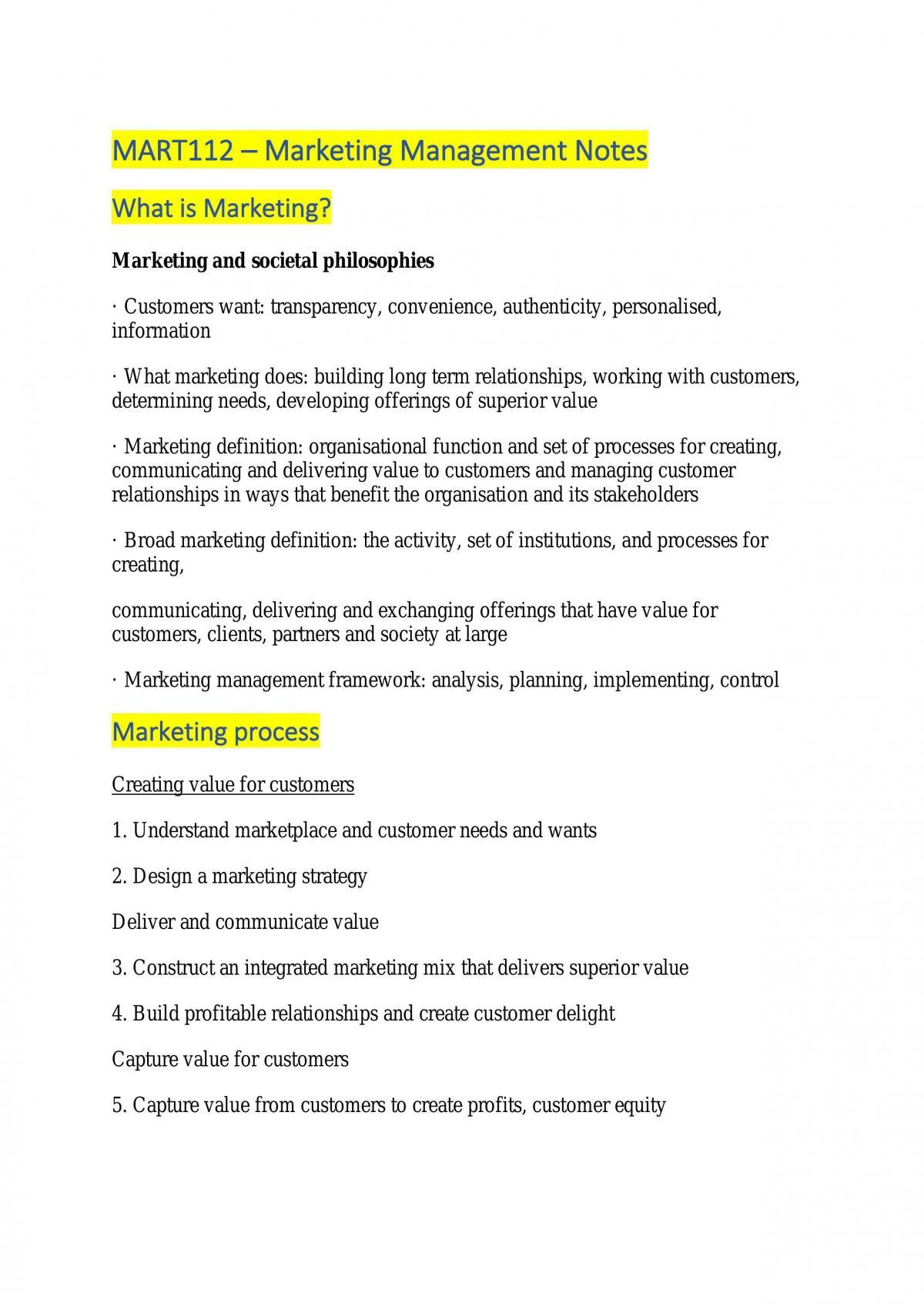 MART112 Marketing Management - Page 1