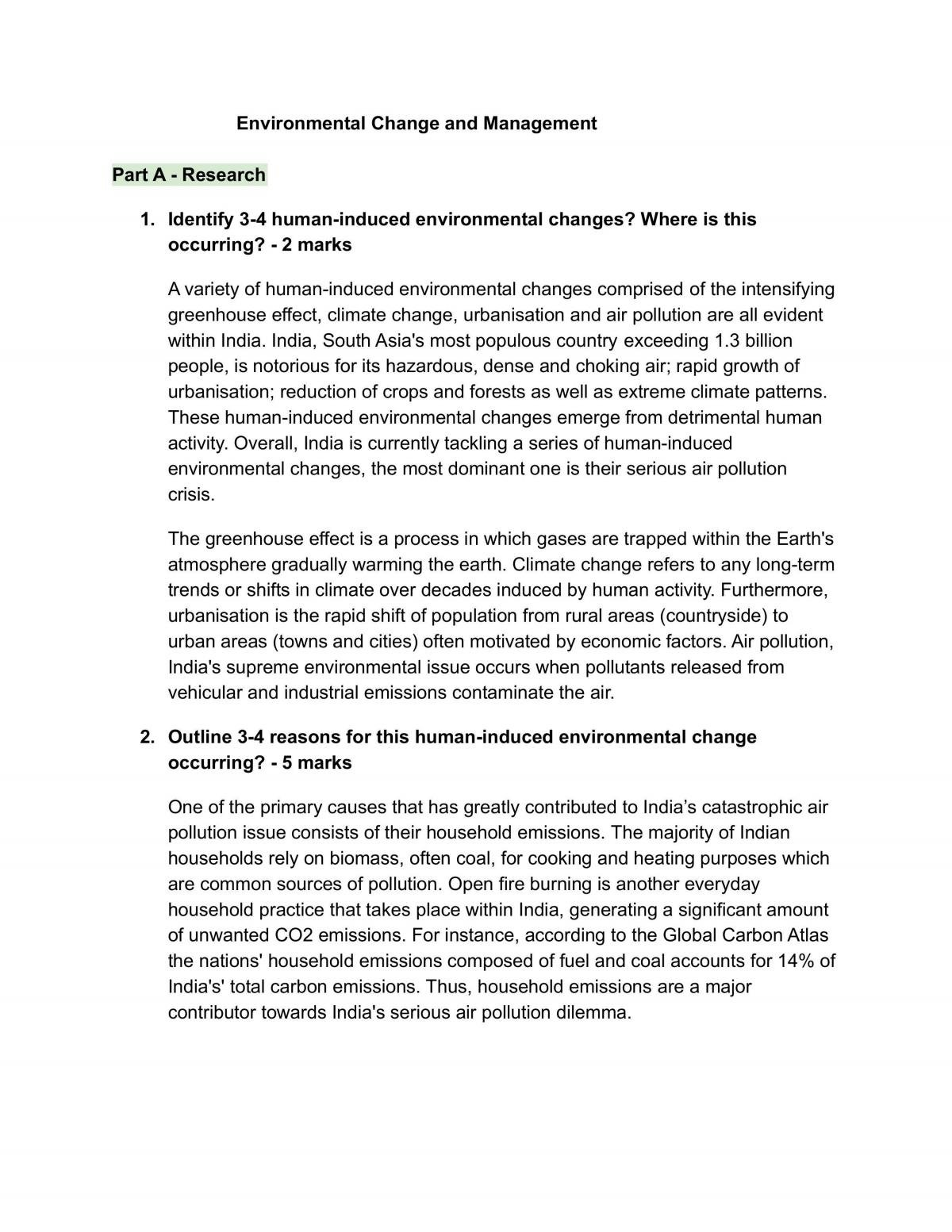 Environmental Change and Management - Page 1