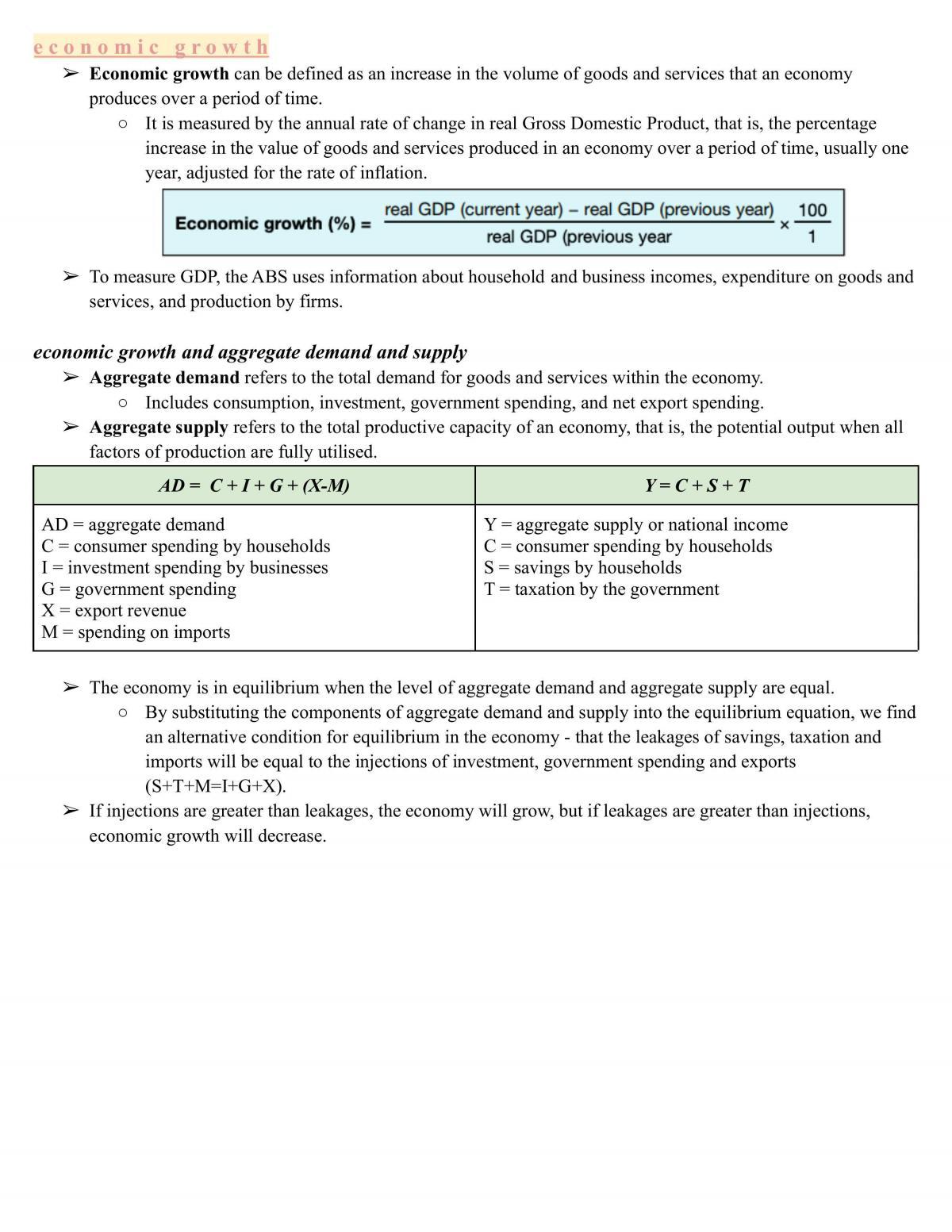 Economics - Topic 3: Economic Issues (notes) - Page 1
