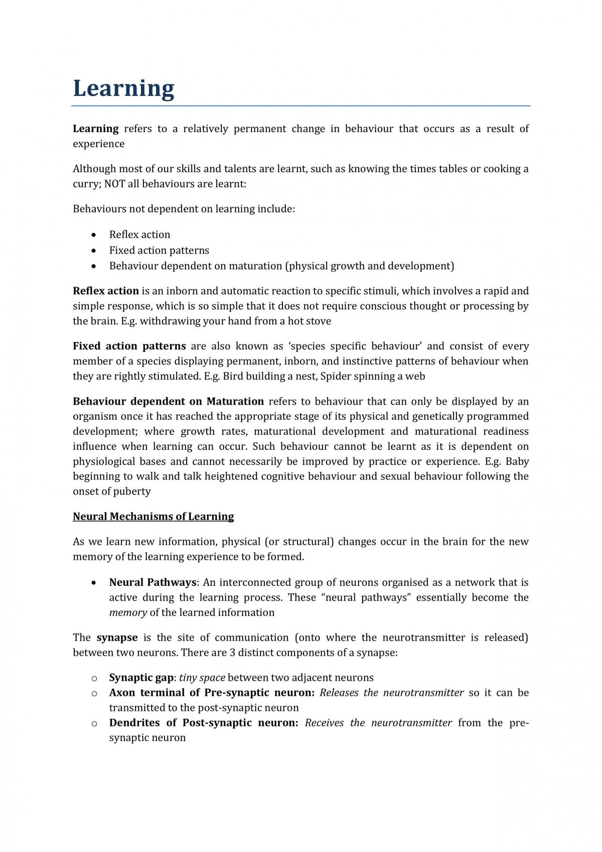 Psychology Learning notes - Page 1
